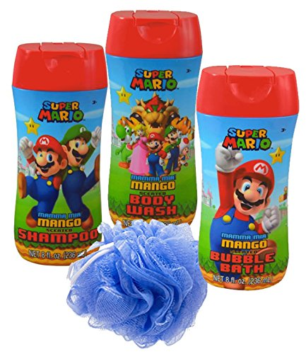 Super Mario Brothers 4pc Bathroom Collection! Includes Body Wash, Shampoo, Bubble Bath & Bath Scrubby! by UPD