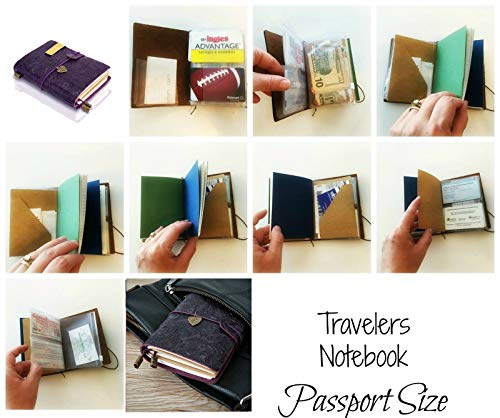 Refillable Handmade Traveler's Notebook, Leather Travel Journal Notebook for Men & Women, Perfect for Writing, Gifts, Travelers, Small Size 5.3