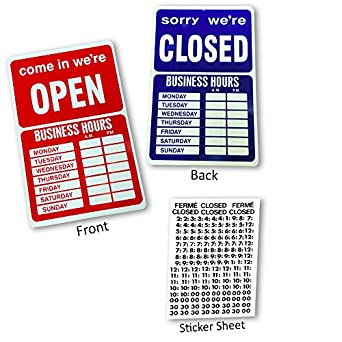 amazon com open closed business hours window sign with time sheet