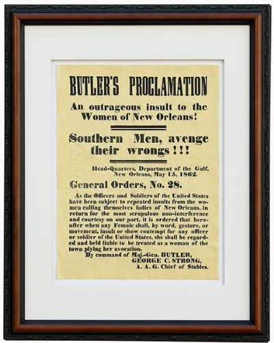 LADIES OF NEW ORLEANS GENERAL BUTLER 1862 PROCLAMATION