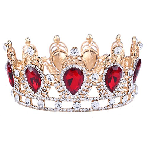Stuff Clear Rhinestone Teardrop Crown Tiaras Crystal Headband (Red)]()