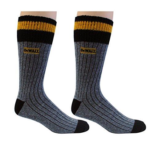 (DeWALT Men's 2 Pack Wool Blend Boot Crew Socks (Black & Yellow),10-13 Sock/6-12 Shoe)