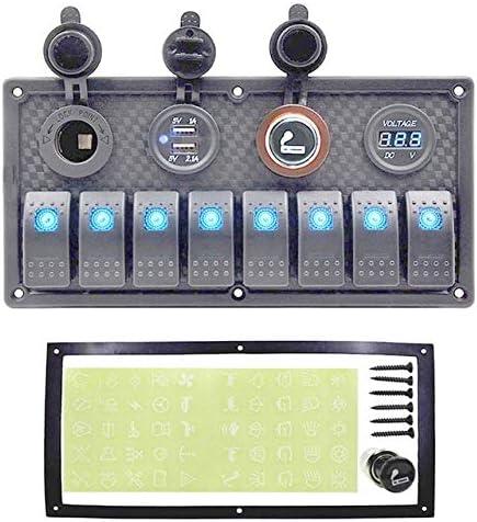 JPLLYY カーボートスイッチパネル、12V〜24VデュアルUSB車のデジタル電圧計を保護、過負荷8ギャングスイッチパネルサーキットブレーカ (Color : Blue LED 8 Gang, Size : フリー)