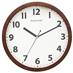 Decowall DSH-W30M 11.8 Non-ticking Silent Modern Wooden Wall Clock DIY for Living Room Bedrooms Office Kitchens (30cm, Brown)