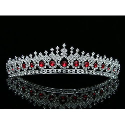 Hot Bridal Pageant Wedding Rhinestones Crystal Tiara Crown - Silver Plated Red Crystals T561 hot sale