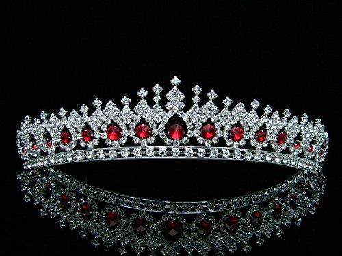 Bridal Pageant Wedding Rhinestones Crystal Tiara Crown - Silver Plated Red Crystals T561 -