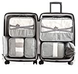 Packing Cubes 7 pcs Backpack Organizers Set for Carry on Travel Bag Luggage Cube (New Gray 7)
