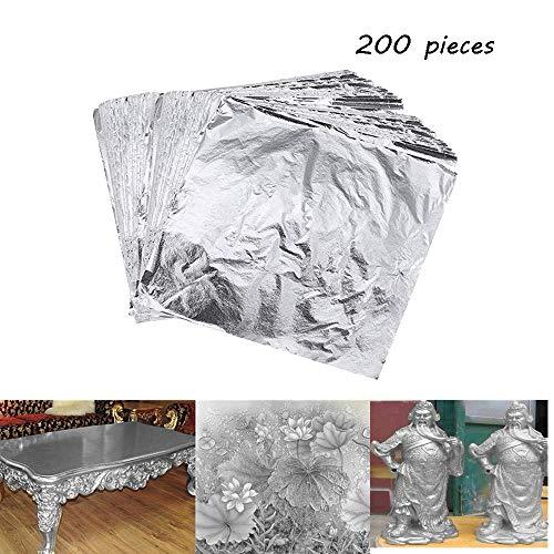 200 Sheets Imitation Silver Leaf Paper Metal Foil Paper for Arts,Gilding Crafting, Crafts Decoration, DIY, Furniture (Silver) ()