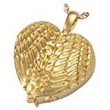 Memorial Gallery MG-3202gp Angel Wing Heart 14K Gold/Sterling Silver Plating Cremation Pet Jewelry