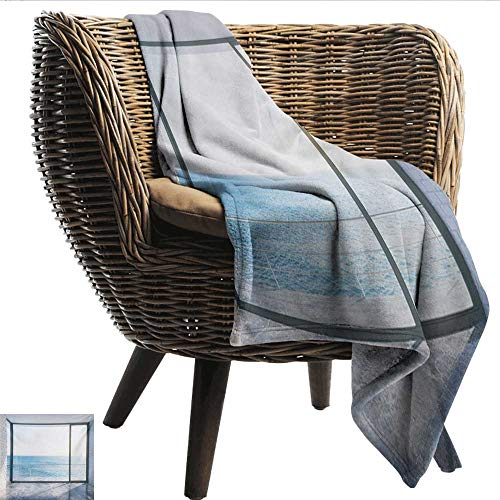(smllmoonDecor Reversible Blanket White Empty Urban Modern Loft Apartment Home with Ocean Sea Sunny Sky View Plush Throw Blanket W60 xL80 Sofa,Picnic,Camping,Beach,Everyday use )