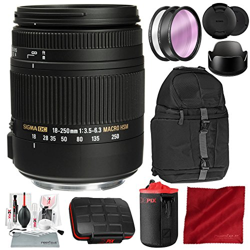 Sigma 18-250mm F3.5-6.3 DC Macro OS HSM for Canon EF Mount DSLR Cameras with Xpix Camera Cleaning Kit and Deluxe Bundle
