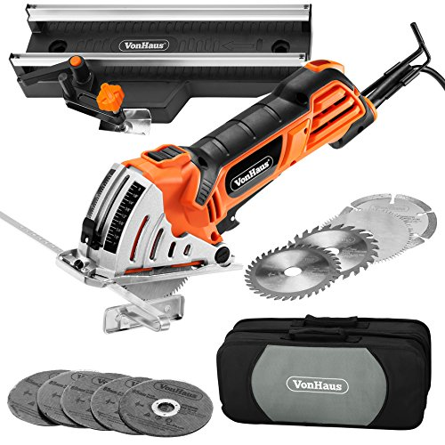 VonHaus 4.5 Amp 3-3/8-inch Mini Handheld Circular Miter Saw with Angled Cross Cut Guide - 500W Motor - 3 Cutting
