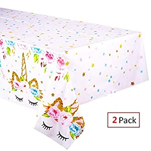 EXIJA 2 Pack Unicorn Plastic Tablecloth,51