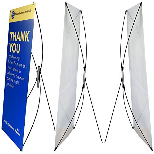 (2 Sets Pack of Premium Adjustable Banner Stand fits Banner Width 23