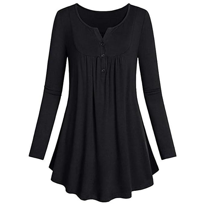 SHOBDW Las Mujeres 2018 Casual O-Cuello de Manga Larga Jersey Tops Blusa Camisa (