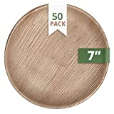 CaterEco Round Palm Leaf 7' Salad Plates | 50 Pack | Ecofriendly Disposable Dinnerware | Heavy Duty Biodegradable Party Utensils for Wedding, Camping & More