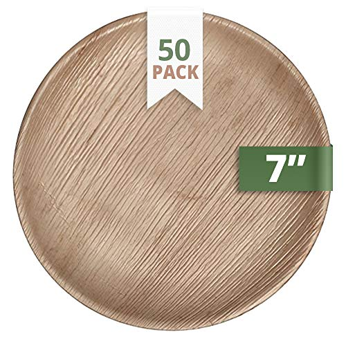 CaterEco Round Palm Leaf Plates Set (Pack of 50) | Salad Plates | Ecofriendly Disposable Dinnerware | Heavy Duty Biodegradable Party Utensils for Wedding, Camping & More