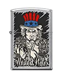 Zippo Custom Lighter Design Uncle Sam Freedom of United States Windproof Collectible - ​ Cool Cigarette Lighter Case Made in USA Limited Edition & Rare