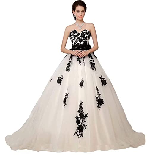 Chady Black and White Lace Vintage Wedding Dress Plus Size ...