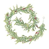 Mistletoe Garland, Leaf & Berries, Realistic Swag, 6 feet, Decorative Greenery, Faux Branch, Red Berries, Christmas, Holiday, Home, Wedding, Venue, Decor, (Green and Red)