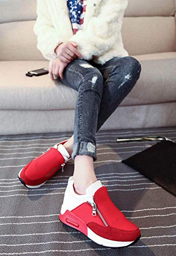 Women's Fashion Solid Color Round Head Breathable Sports Shoes Sports Running Climbing Platform Shoes Red by Lloopyting (Image #1)