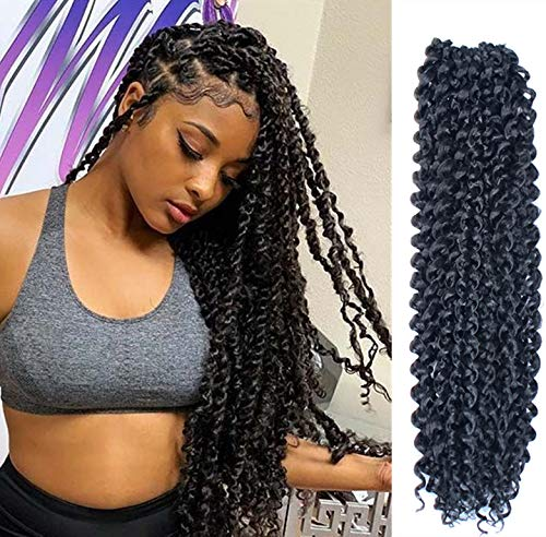 Twist Crochet - 6Pcs Passion Twist Hair 18 Inch Long Bohemian Braids for Passion Twist Crochet Braiding Hair Hot Water Setting Itch Free Synthetic Fiber Natural Hair Extension(18, 1B)