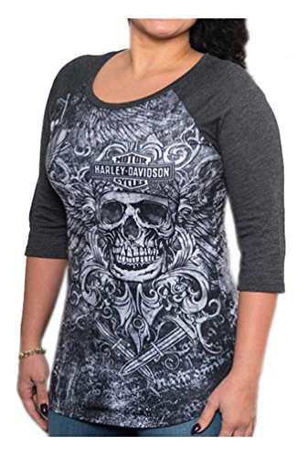 Harley-Davidson Women's Harley Warrior Premium 3/4 Sleeve Raglan Tee, Gray (Premium Raglan)