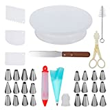 #2: Cake Decorating Supplies with Cake Turntable 24 Stainless piping nozzles 1 Icing Spatula 1 Pastry Bag 1 Cake Brush 1 Cake Cutter 1 Cake Pen 3 Cake Scrapers cake stand