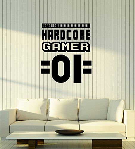 Large Vinyl Wall Decal Hardcore Gamer Gaming Room Art Video Games Decor Stickers Mural (ig5516) by WallStickers4ever
