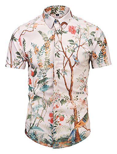PIZOFF Mens Luxury Short Sleeve Flowers Trees and Birds Florlal Button Down Dress Shirt AL003-32-M