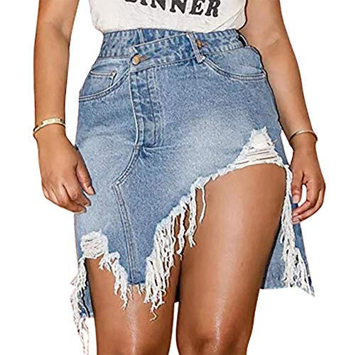 Women's Mini Pencil Jean Skirt High Waisted Distressed Ripped Denim Split Skirts for Ladies Blue L