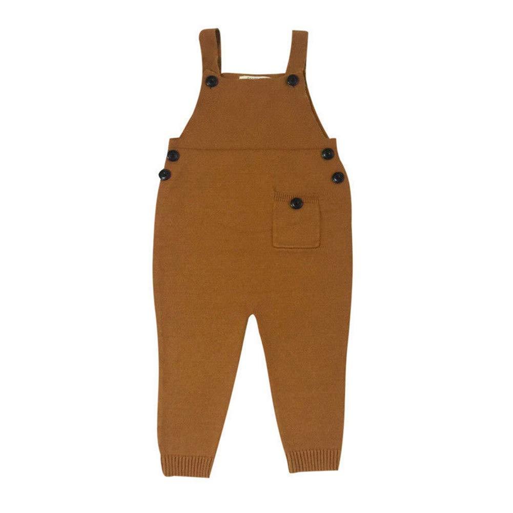 yunhou Unisex Ni/ños Mono Ni/ñas Casual Overalls Ni/ños Loose Jumpsuit Dungarees Bot/ón Bolsillo Pantalones 1-5 a/ños Amarillo//Rojo Gris//Azul Marr/ón
