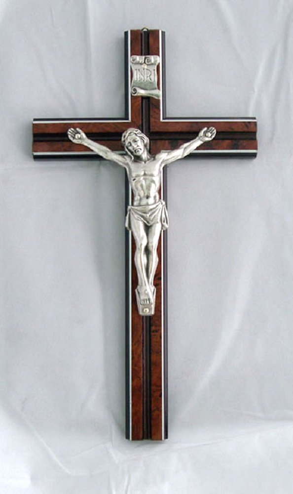 Silver Crucifix on a wood cross, 10 inches . Made in Italy.
