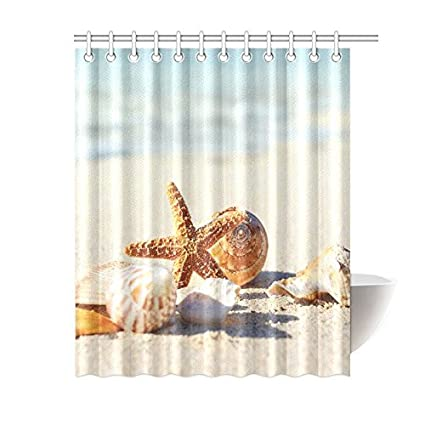 InterestPrint Tropical Island Sandy Beach Home DecorSeashell Starfish Polyester Fabric Shower Curtain Bathroom Sets