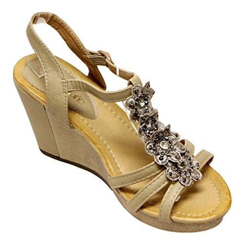 Bella Maria Nxt-1 Zeppa Piattaforma Donna Con Cinturino Alla Caviglia Cinturino Alla Caviglia Con Decoro Floreale Sandali Superiori Kaki