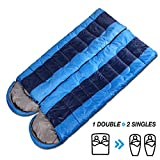 Sleeping Bag Cold Weather Valentines Day Gifts for Adults/Her/Him [2 Pack], AYAMAYA Waterproof Envelope Packable Rectangular Camping Sleeping Bag with Compression Bag for Double 2 Person Sleeping