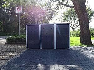 3–Cubo de basura Cajas Modelo No. 2antracita gris para 120litros de basura toneladas/Resistente a la intemperie con revestimiento de polvo/con Tapa y puerta delantera
