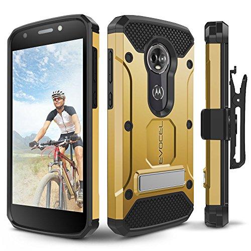 Moto E5 Plus / E5 Supra Case, Evocel [Explorer Series Pro] Premium Full Body Case with Glass Screen Protector, Belt Clip, Metal Kickstand for Motorola Moto E5 Supra/Moto E5 Plus, Gold