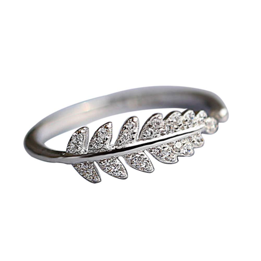 super1798 Fashion Promise Olive Leaf Band Adjustable Open Index Finger Ring Jewelry - Silver US 6