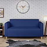 Modern Minimalist Short Back Loveseat Sofa Upholstered Couch Suitable for Living Room, Bedroom, Office Furniture, Total Length 55 inches (Dark Blue 1118)