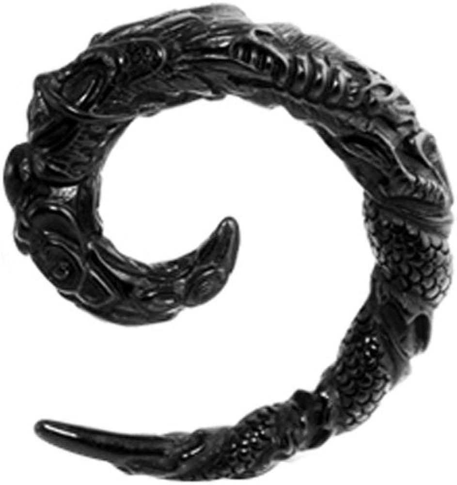 AtoZ Piercing Black 3D Tribal Dragon Around UV Acrylic Spiral Taper Stretchers Ear Plugs