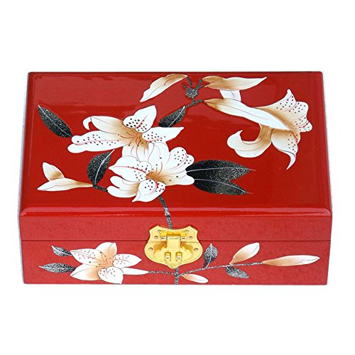Lanburch Chinese Style Two-Layer Wooden Jewelry Box Organizer Display Storage Case Treasure Chest Case with Lock, Lily Red