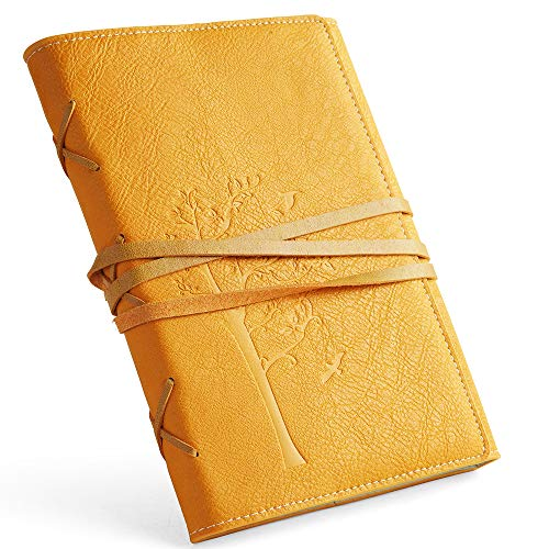 Faux Yellow Leather Journal, VALERY Personal Diary Vintage Traveler Refillable Sketchbook with Lined Paper to Write In, Fountain Pen Safe, Nice Gift for Boys, Gift(Yellow-Lined)