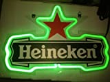 "Green Heineken Red Star Logo Beer Bar Real Glass Tube Neon Light Sign 14""x9'' Inches Handcrafted"