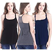 CAKYE 3 Pack Cotton Maternity Nursing Tank Top Cami Shirts for Breastfeeding (Medium, Black + Navy + Dark Grey 3pcs/Pack)