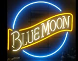 Free Shipping!Super Bright! New Blue Moon Sign Handcrafted Real Glass Neon Light Sign Home Beer Bar Pub Recreation Room Game Room Windows Garage Wall Sign 19x15 inches