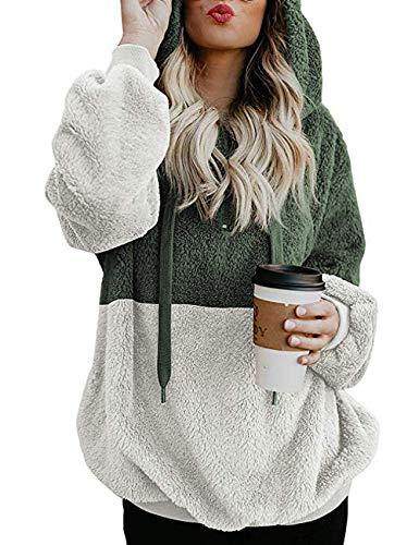 Dongpai Women's Long Sleeve 1/4 Zip Pockets Sherpa Pullover Fleece Sweatshirt Warm Coat Outwear