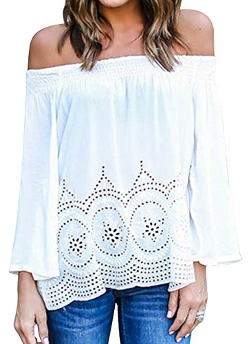 KOINECO - Camiseta de manga larga - para mujer blanco