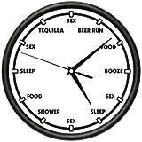 COLLEGE STUDENT Wall Clock keg condoms sex sleep college party dorm room gift