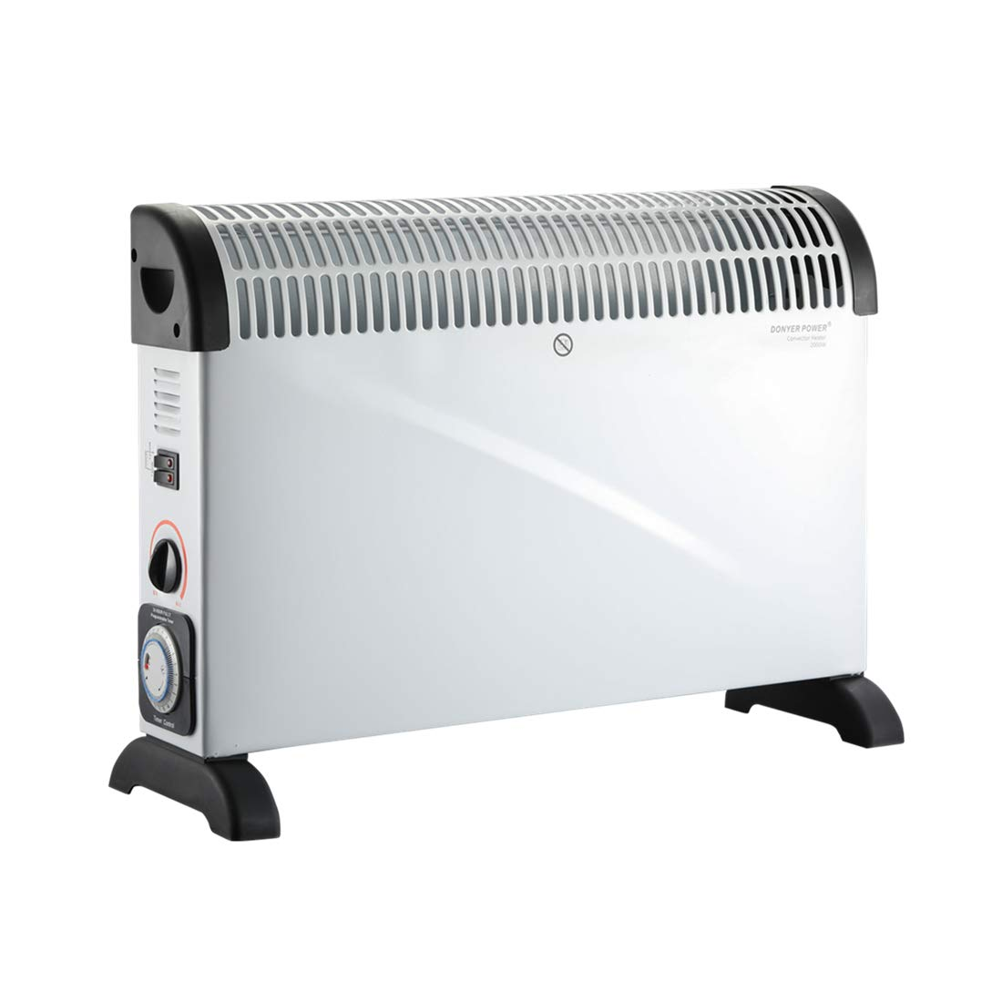 DONEY POWER Convector Radiator Heater with Adjustable Thermostat Wall Mounted Or Free Standing in white, 2000 Watt YOUBAO